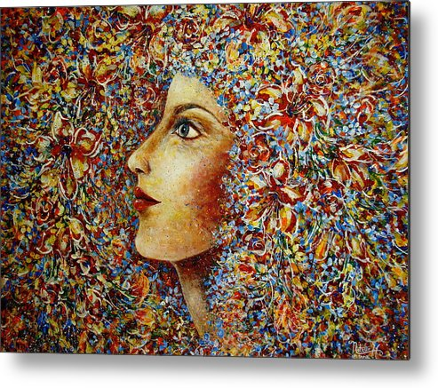 Flower Goddess Metal Print featuring the painting Flower Goddess. by Natalie Holland