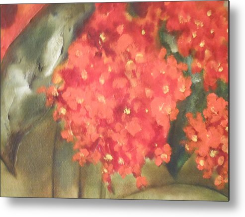 Abstract Metal Print featuring the painting Flower On The Wall by Lord Frederick Lyle Morris - Disabled Veteran