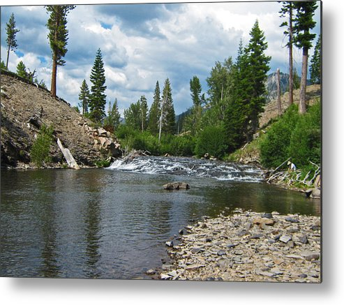 Reds Meadow Metal Print featuring the photograph Fly Fishing Above Rainbow Falls by Jim Halas