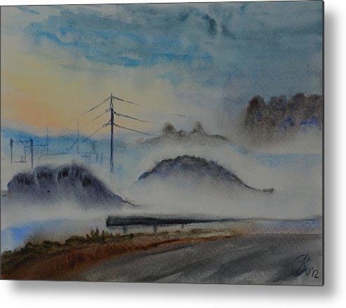 Landscape Metal Print featuring the painting FOG by Olga Kivlenoka