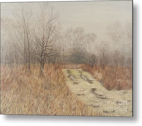 Landscape Metal Print featuring the painting Foggy Morning by Priya Bharat