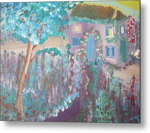Lavender.cottage Metal Print featuring the painting French Lavender Cottage by Judith Desrosiers