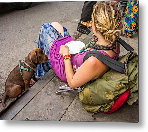 French Quarter Metal Print featuring the photograph French Quarter - Pizza Puppy by Steve Harrington