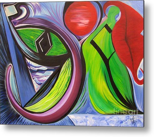 Abstract Metal Print featuring the painting Friday by Aimee Vance