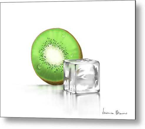 Digital Metal Print featuring the painting Frozen Fruit by Veronica Minozzi