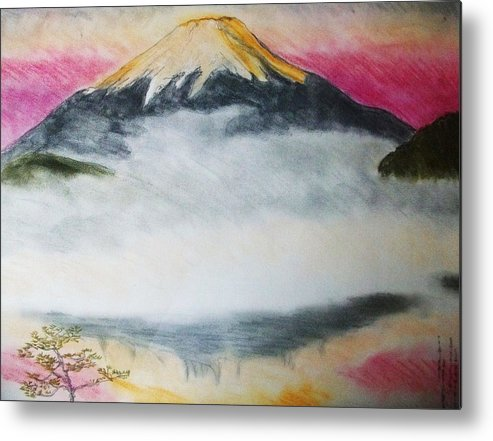 Fuji Mountain Metal Print featuring the pastel Fuji Mountain In The Fog by Agata Suchocka-Wachowska