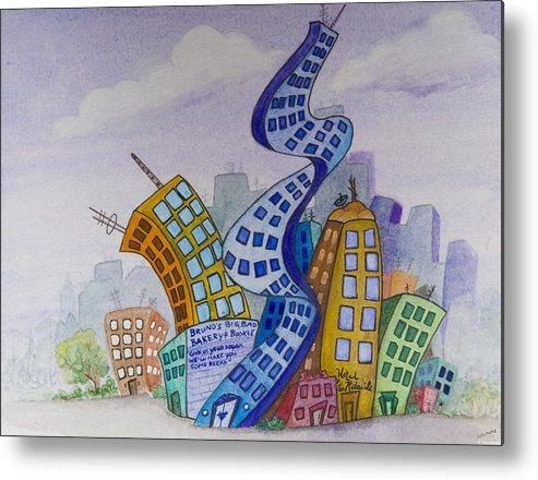 Animation Background Cityscape Cartoon Metal Print featuring the painting Funky Town by Brenda Salamone
