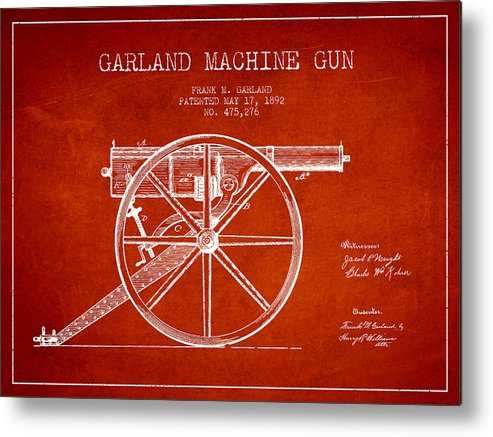 Machine Gun Metal Print featuring the digital art Garland Machine Gun Patent Drawing From 1892 - Red by Aged Pixel