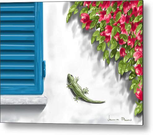 Digital Metal Print featuring the painting Geco by Veronica Minozzi