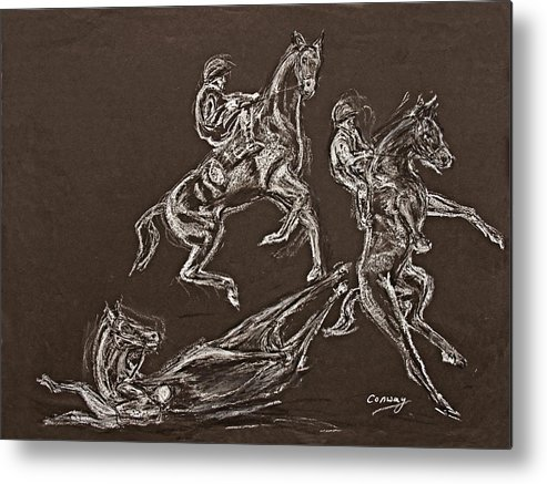 Rearing Horse Metal Print featuring the drawing Ghost Riders In The Sky by Tom Conway