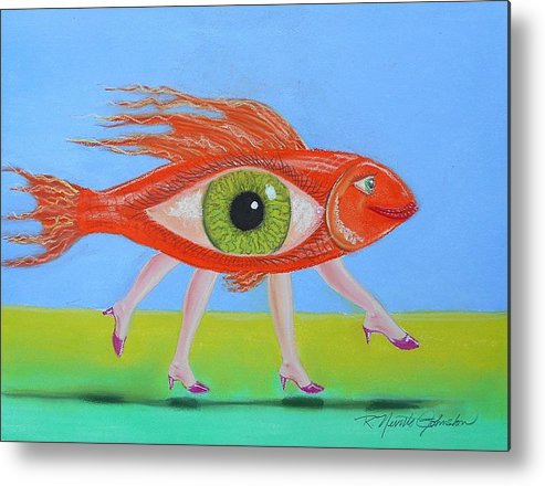 Fish Metal Print featuring the mixed media Ginger Fish by R Neville Johnston