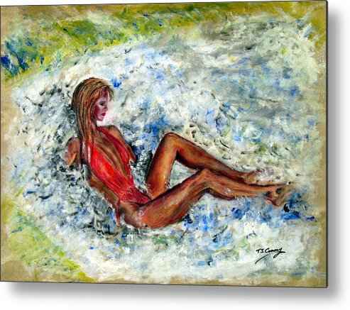 Girl Metal Print featuring the painting Girl In A Red Swimsuit by Tom Conway