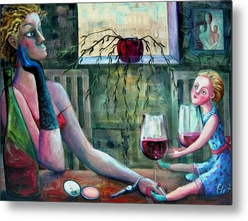 Woman Metal Print featuring the painting Girls Party by Elisheva Nesis