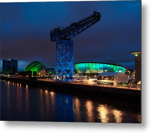 Glasgow Metal Print featuring the photograph Glasgow - River Clyde At Night by Tommy Dickson