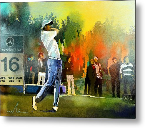Golf Metal Print featuring the painting Golf In Gut Laerchehof Germany 01 by Miki De Goodaboom