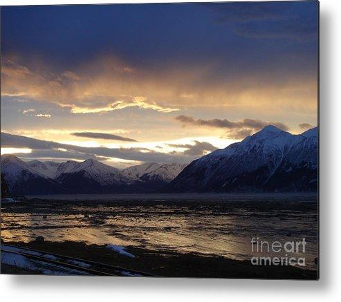 Landscape Metal Print featuring the pyrography Good Morning Alaska by Katerina Koci