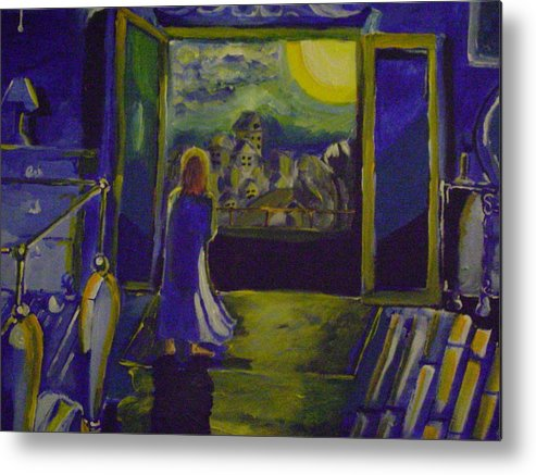 Skyline Metal Print featuring the painting Good Night Wish by Sidney Holmes
