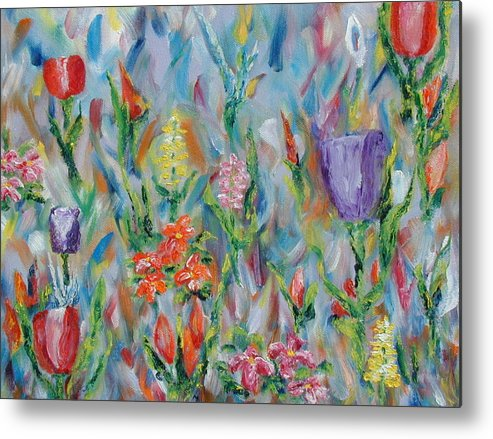 Landscape Metal Print featuring the painting Grandma's Garden by SheRok Williams