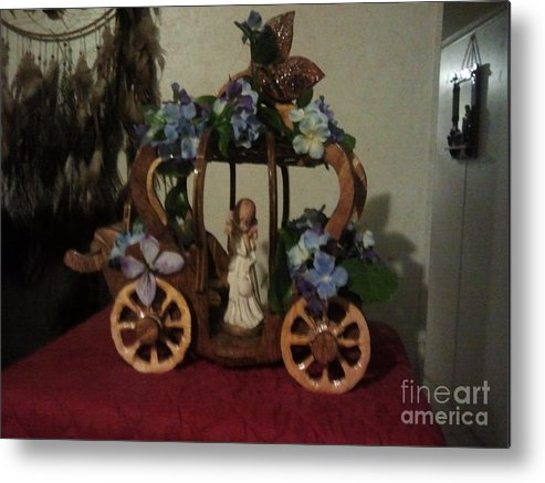 A Beautiful Princess Carriage That I Had Designed And Built With The Finishing Touches Done By My Lovely Wife To Bring Out The Charm And The Beauty To Bring It All Together. This Is Done On Very Rustic Looking Wagon Wheels That Do Go Around. Metal Print featuring the photograph Greg Davis by Greg Davis