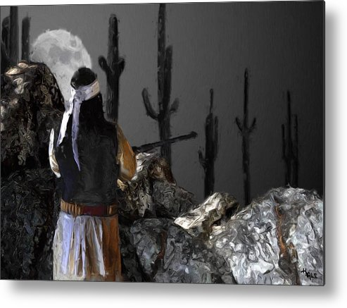 Southwest Metal Print featuring the painting Guard Duty by Roger D Hale
