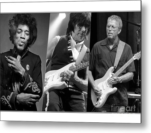 Jeff Beck Art Metal Print featuring the mixed media Guitar Legends Jimi Hendrix Jeff Beck And Eric Clapton by Marvin Blaine