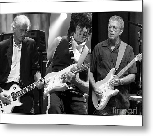Jeff Beck Art Metal Print featuring the mixed media Guitar Legends Jimmy Page Jeff Beck And Eric Clapton by Marvin Blaine