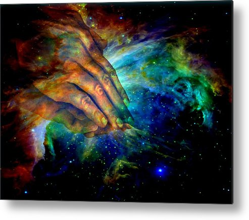 Religious Metal Print featuring the digital art Hands Of Creation by Evelyn Patrick