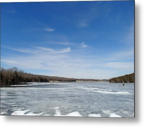 Cloud Metal Print featuring the photograph Hard Frozen Lake by Greg Boutz