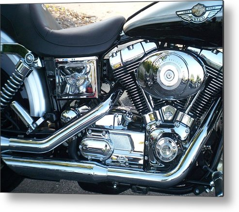 Motorcycles Metal Print featuring the photograph Harley Black And Silver Sideview by Anita Burgermeister