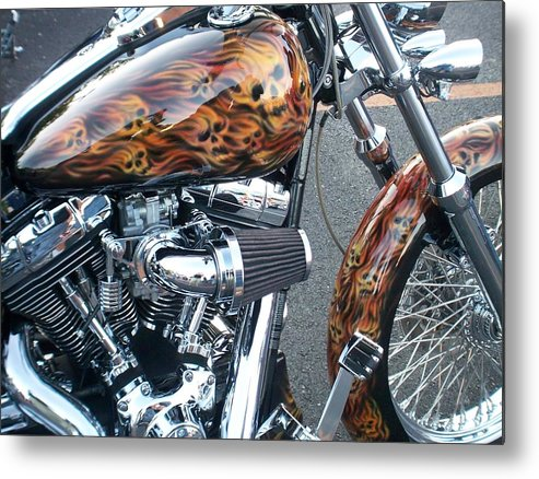 Motorcycles Metal Print featuring the photograph Harley Close-up Skull Flame by Anita Burgermeister