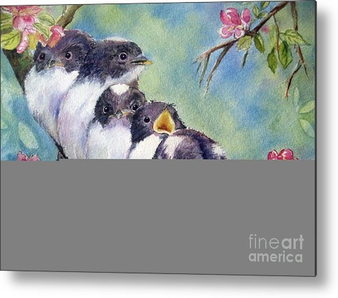 Baby Birds Metal Print featuring the painting Home Alone by Patricia Pushaw