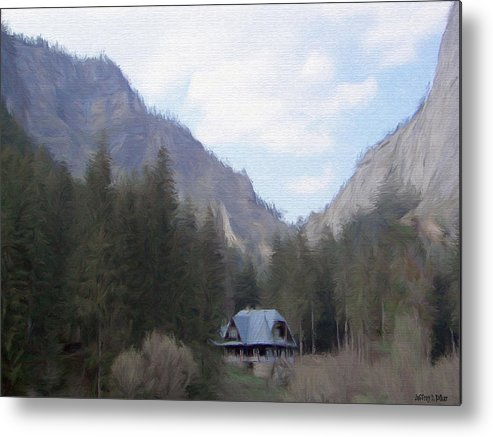 Alone Metal Print featuring the painting Home In The Mountains by Jeff Kolker