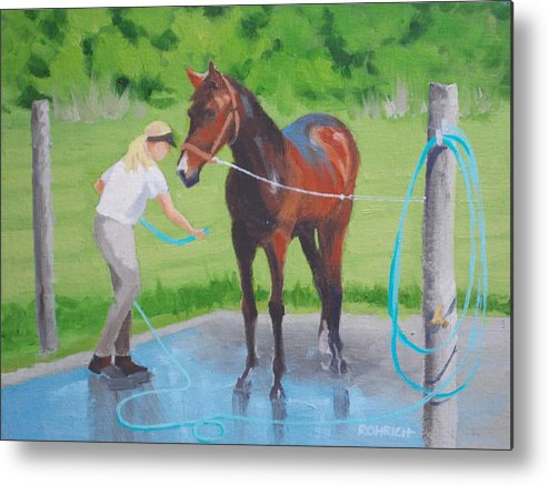 Stables Metal Print featuring the painting Horse  Wash by Robert Rohrich