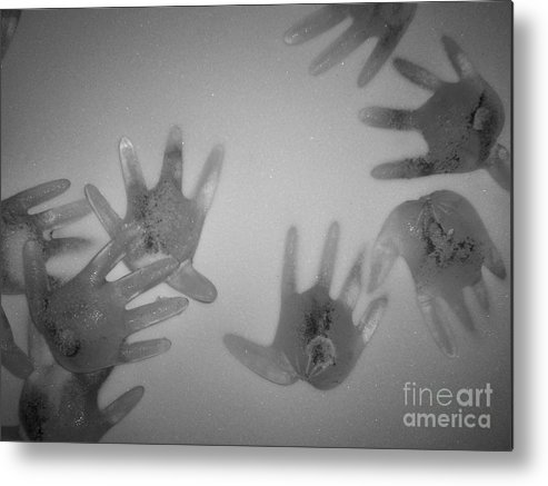 Ice Sculpture Hands Snow Metal Print featuring the photograph White Out by Kristine Nora