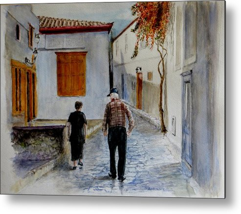 Old Couple Walking Up An Alley Metal Print featuring the painting I Did Not by Don Schroeder