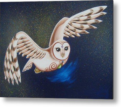 Owl Metal Print featuring the painting Illuminating The Night by Tiffany Aldridge