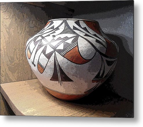 Native American Metal Print featuring the digital art Indian Pot 1 by Lovina Wright