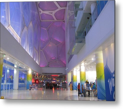 Swimming Pool Metal Print featuring the photograph Inside The Water Cube by Alfred Ng