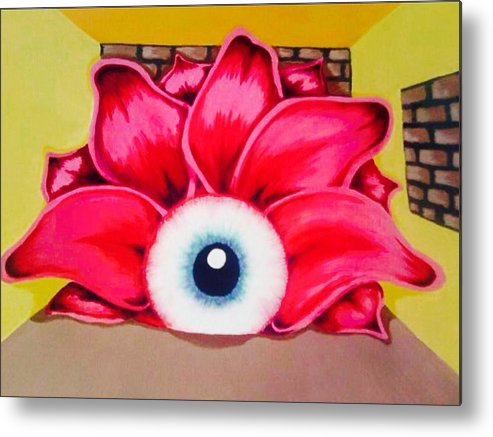 Flower Metal Print featuring the mixed media Isolation by Lowkey Luciano