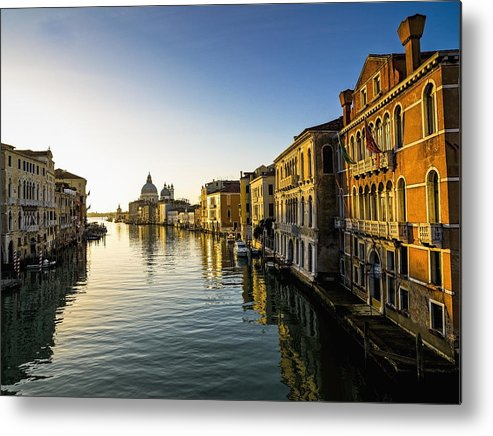 Blue Sky Metal Print featuring the photograph Italy, Venice, Buildings Along Canal by Richard Desmarais