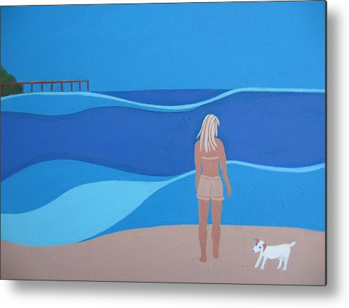 Jack Russell Metal Print featuring the painting Jack At The Beach by Sandra McHugh