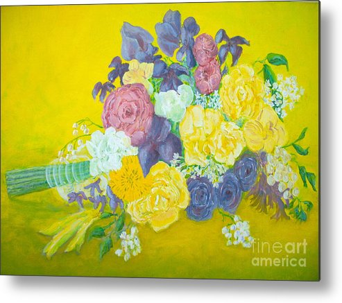 Wedding Bouquet Metal Print featuring the painting Jen's Wedding Bouquet by Paul Galante