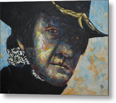Johnny Cast Metal Print featuring the painting Johnny Cash by Joyce Sherwin