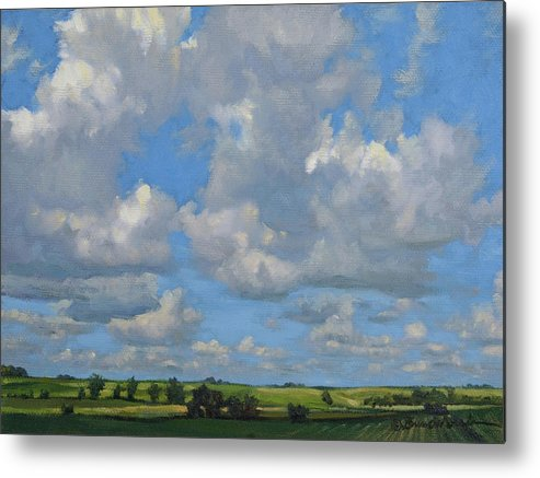 Summer Landscape Metal Print featuring the painting July In The Valley by Bruce Morrison