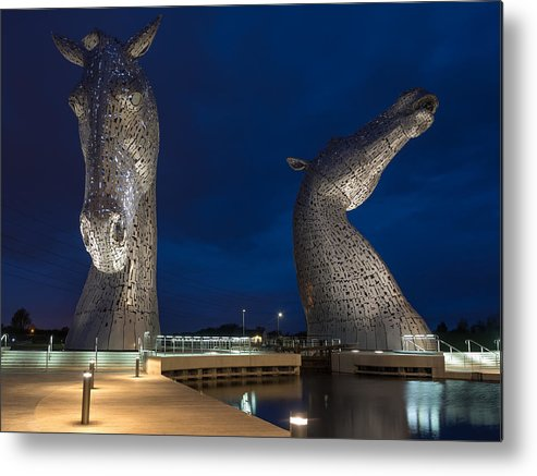 Kelpies Metal Print featuring the photograph Kelpies At Night by Tommy Dickson