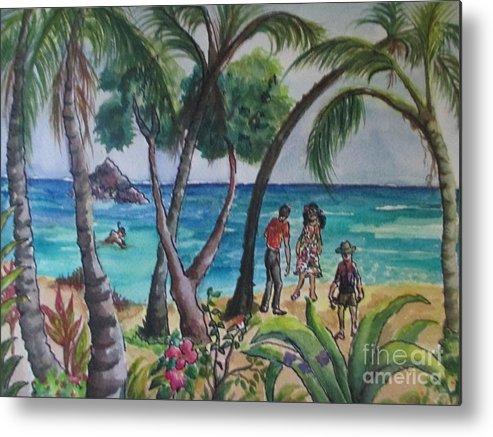 Hawaii Metal Print featuring the painting Kialua Bay by Lynn Maverick Denzer