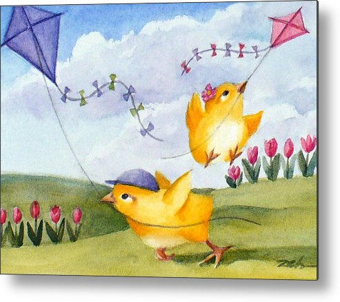 Baby Chicks Print Metal Print featuring the painting Kites In March by Janet Zeh
