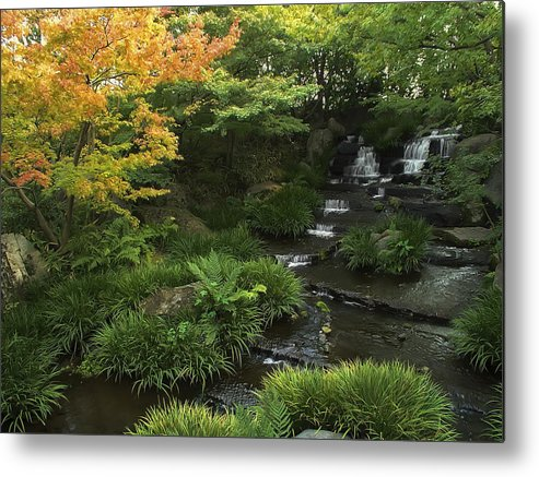 Japan Metal Print featuring the photograph Kokoen Garden Waterfall - Himeji Japan by Daniel Hagerman
