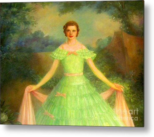 Happy Metal Print featuring the photograph Lady In Green by Tina M Wenger