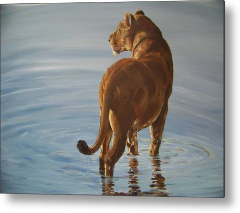 Lioness Metal Print featuring the painting Lady Of The Lake by Robert Teeling
